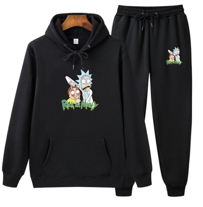 Rick Morty Hoodie Men Sweatshirt Sets Print Pattern Fashion 2020 Brand Pullover Causal Tracksuit Pants Suit Thicken