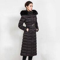 Zimowy płaszcz damski moda wiatroszczelna długa odzież wierzchnia parki naturalne futro z lisa kołnierz biały puch kaczy gruby ciepły płaszcz żeński luksus