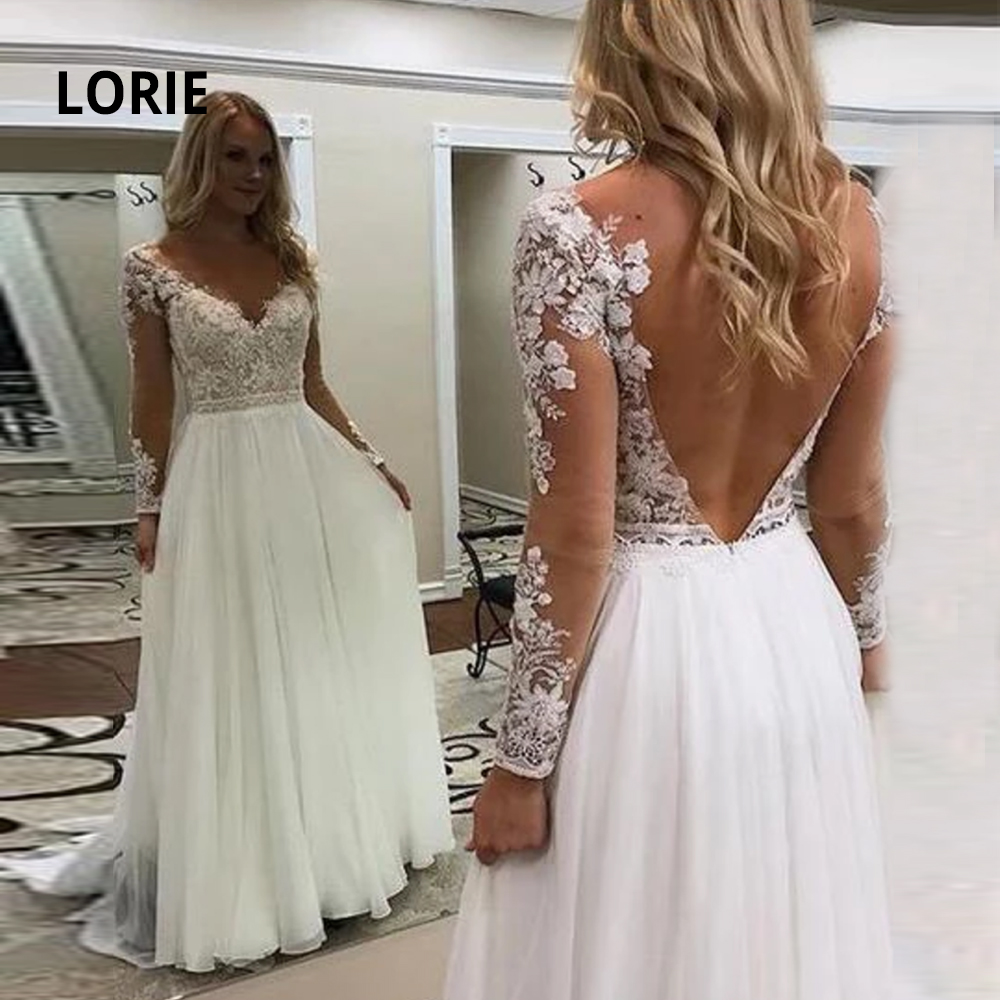 LORIE New Arrivals Chiffon Beach Wedding Dresses Lace Appliqued V-neck Long Sleeve Princess Bridal Gowns Boho Wedding Gowns 2019