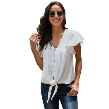 CAWA Elegant High Quality Plus Size Button Blouse Loose Solid Bow Tie Chiffon Blouse Shirt SummerRuffle Fashion Sleeve Top grey self tie design bell sleeves chiffon blouse