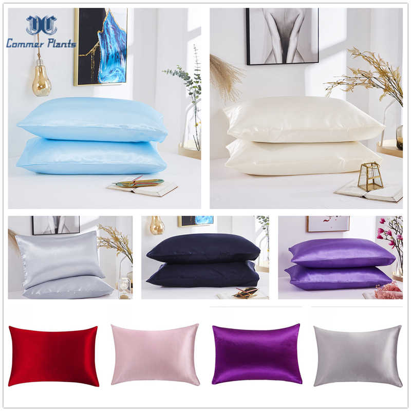 2020 New 100% Satin Silk Pillowcase Soft Mulberry Standard/Queen/King Pillowcase Pillow Cover Chairs Cushion Cover Home Decor