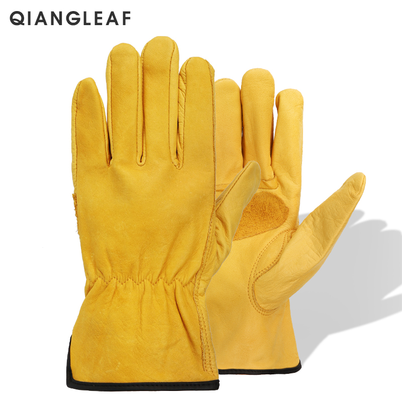 QIANGLEAF Brand Men's Working Driving Cowhide Leather Protection Safety Gloves Yellow Warm Anti-slip Wear-resistant Glove H93