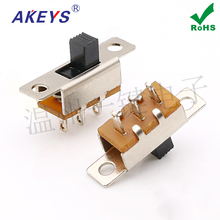 10pcs SS-12F31 (1P2T) toggle switch 3 feet two gears with ear slide switch hole foot power connector nkk toggle switch m 2013 6a125vac 3 feet 3 files