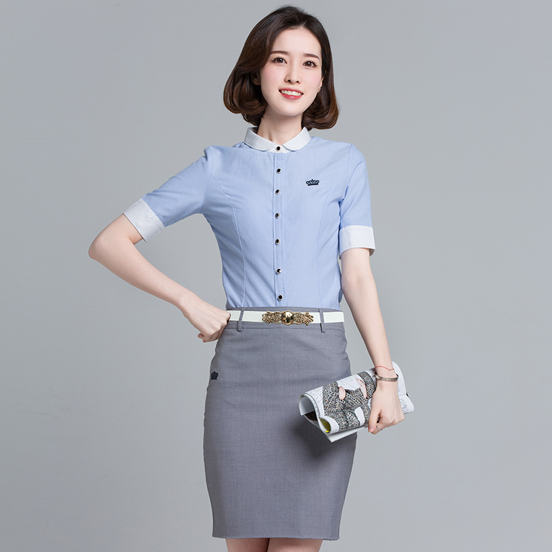 Figure Rong Wear WOMEN'S Suit White Collar Short-sleeve Coat For Women Ol Business Dress Beauty Handsome Work Clothes