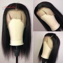 Peruwiański prosto koronkowa peruka na przód 13*4 koronkowa peruka 100% ludzki włos peruki z dziecięcymi włosami PrePlucked Arabella Remy 4x4 zamknięcie koronki peruka