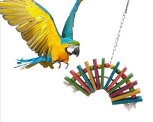 1pcs Pet Bird Chewing Climbing Toys Colorful Parrot Hanging Toy Parakeet Cage Supplies