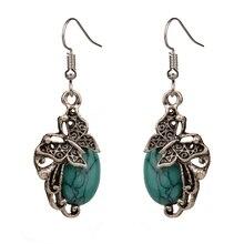 Bohemian Earrings For Women Butterfly Drop Dangle Blue Crackle Stone Vintage Earring Fashion Jewelry