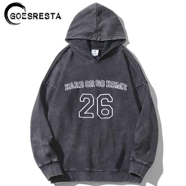 2020 Retro Washed Black Hoodies Sweatshirt Men No. 26 Embroidery Oversized Hoodie Hip Hop Streetwear Hooded Pullover Harajuku