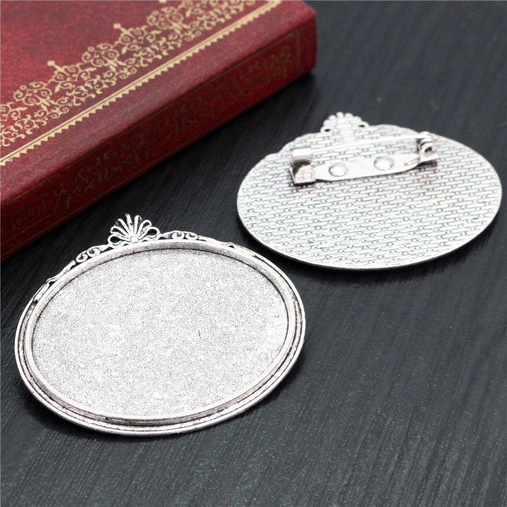 New Fashion  5pcs 30x40mm Inner Size Antique Silver Plated Pin Brooch Flowers Style Base Setting Pendant (B3-46)