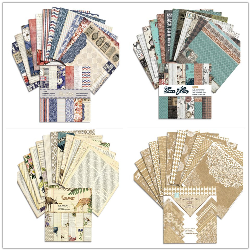 24 Sheets Vintage Style 6 Inches Scrapbooking Paper Album Background Pad Decorative Paper Holiday Crafts Diy Notebook Parper