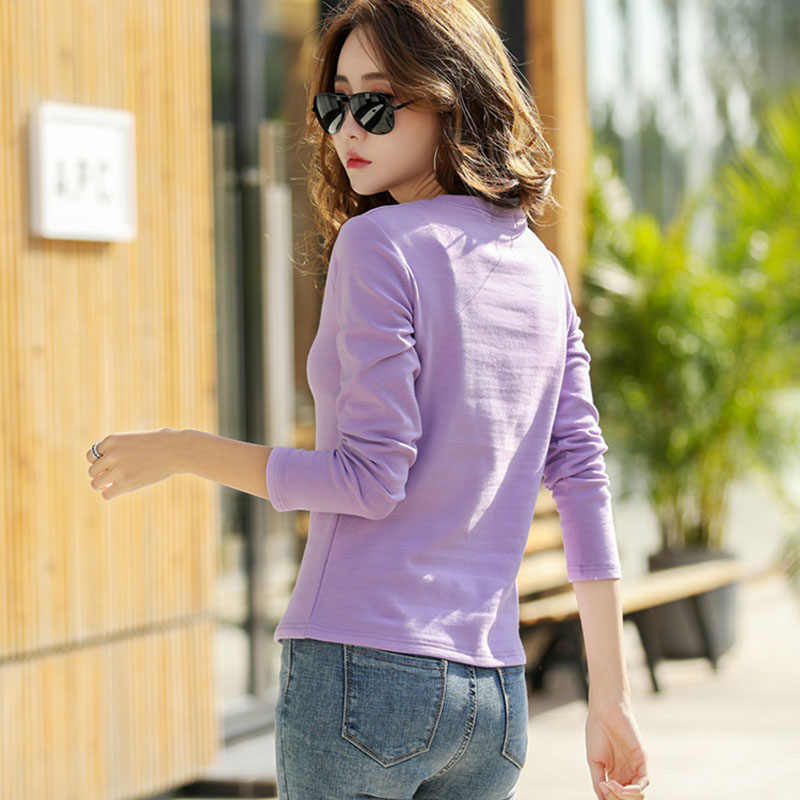 T-shirt Female New 2019 Autumn and Winter Long Sleeves Plus Size S-3XL Shirt Cotton Bottoming Slim Wild Embroidery T Shirt Women