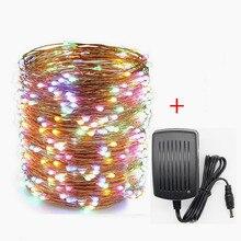 Dc12v 10m/20m/30m/50m led prata/fio de cobre luz da corda led guirlanda de fadas com adaptador de energia para a decoração do casamento de natal