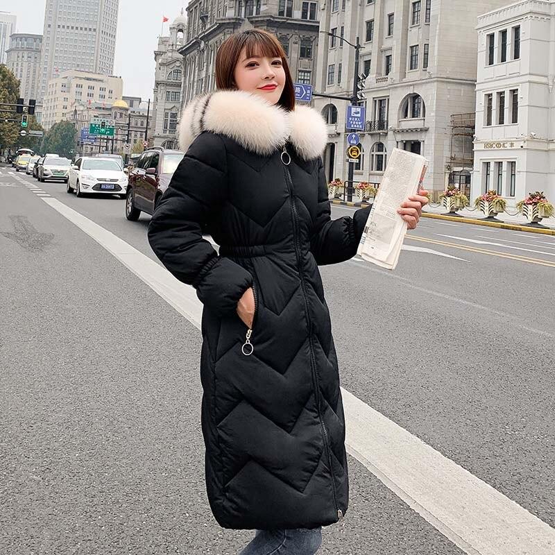 QIHUANG Fashion Fur Collar Hooded Winter Thick Women's   Down     Coat   Warm Slim Female Long   Down   Jacket 2019 Winter Women   Coat