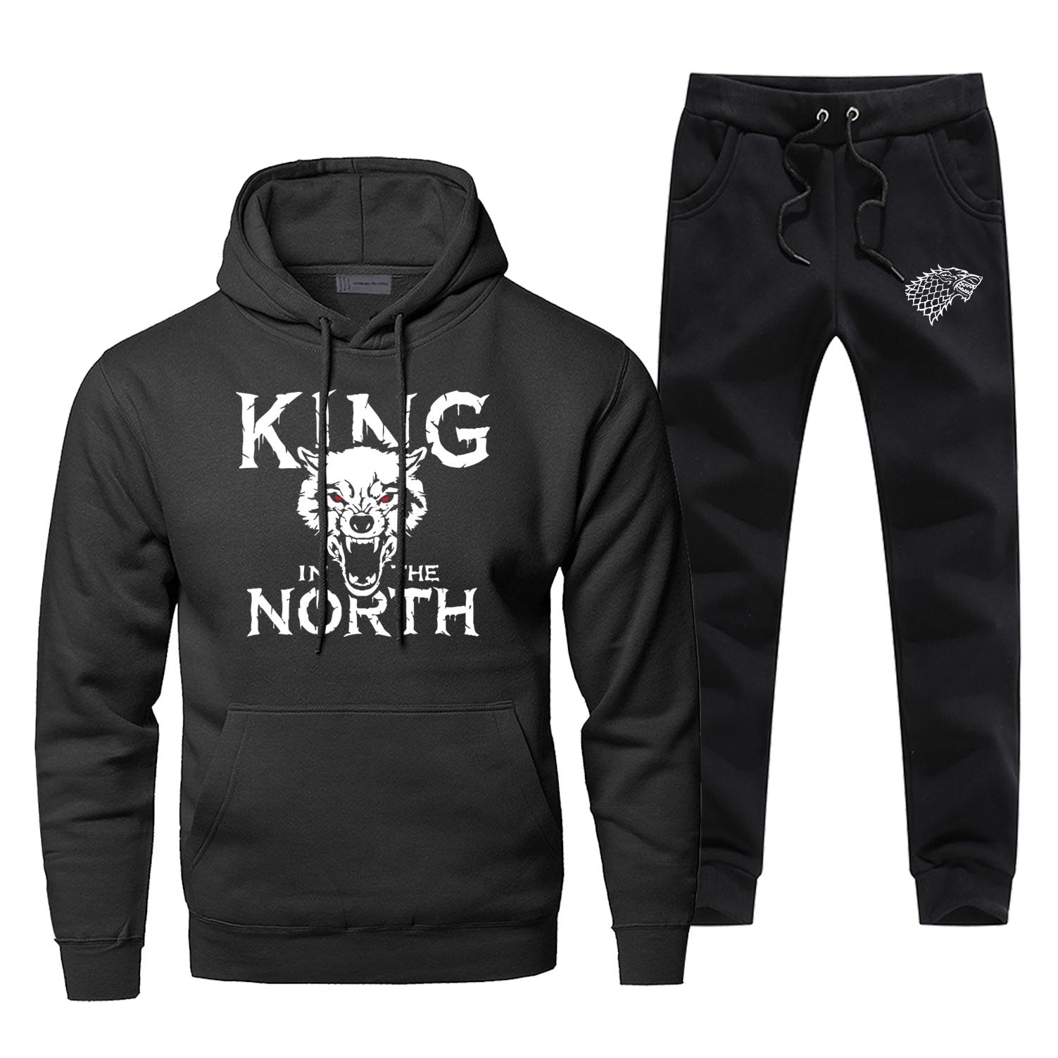 Game Of Thrones Mens Hoodies Set Two Piece Pant Hoodie Sweatshirt Sweatpants Streetwear Sportswear King In The North Sweatshirts