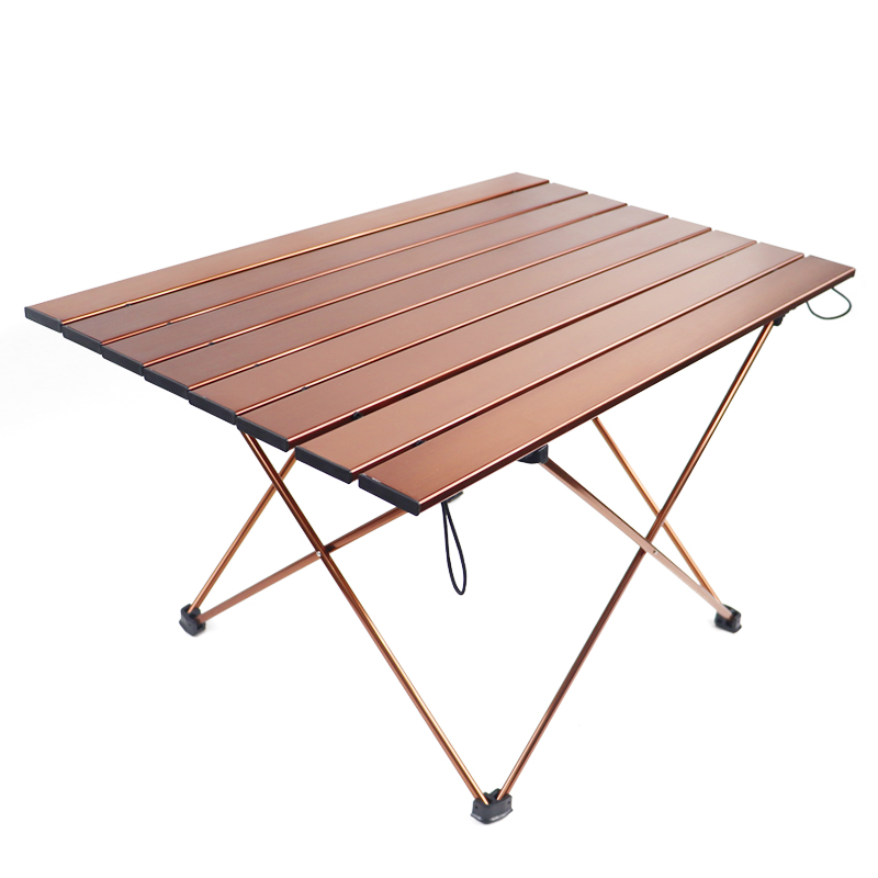 Brown Folding Table Portable Ultra-Light Picnic Table Suitable for Outdoor Camping Garden Party