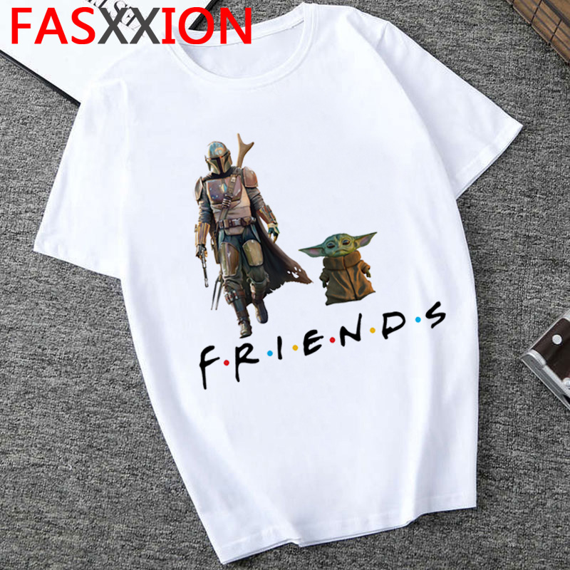 Baby Yoda T Shirt Men Funny Cartoon Baby Yoda Mandalorian Kawaii T-shirt  Harajuku 2020 Hip Hop Top Tees Male Cute Tshirt