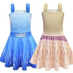 Girls Elsa 2 Anna Dress Frozen 2 Printed Dresses Birthday Party Cosplay Snow Queen Costume