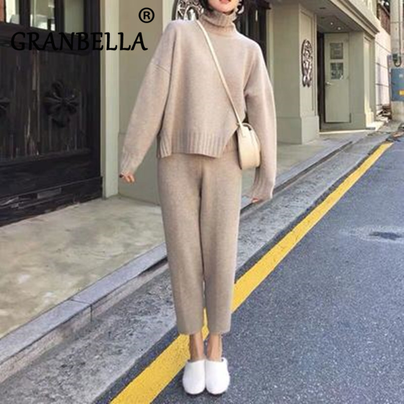 Autumn Winter Knitted Tracksuit Turtleneck Sweater + Pants Two Piece Set Casual Women 2 Piece Set Knitted Trousers+Jumper Suit