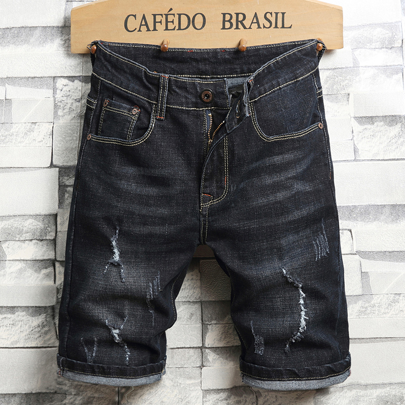 2020 Summer New Men's Ripped Denim Shorts Fashion Casual Classic Style Brand Regular Fit Short Jeans Male Black Blue