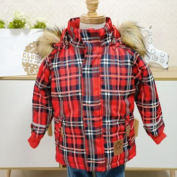 Baby Wadded red plaid jacket Baby Cotton-padded Jacket Boys Girls Children Winter Thick Coat