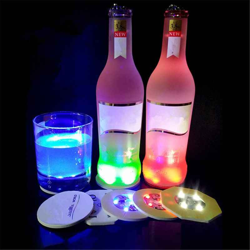 Posavasos con luz LED posavasos botella LED botella de luces pegatina LED Flash