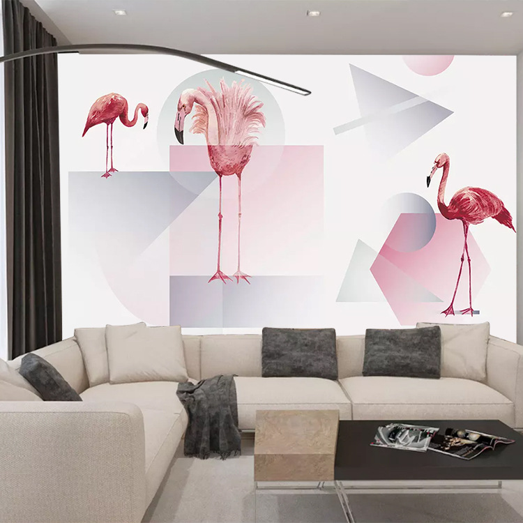 Northern European-Style Hand-Painted Plant Flowers And Birds Pink Flamingo Background Of Television In The Drawing Room Wallpape