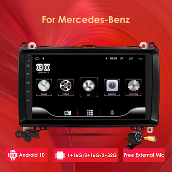 Car Multimedia Player Android 10 2 Din GPS Autoradio For Mercedes Benz B W245 B150 B160 B170 B180 B200 B55 Sprinter 2G+32G WIFI image