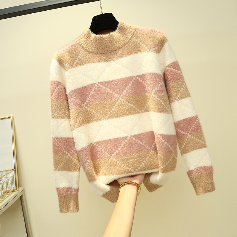 O-Neck Stripe Fashion Female Warm Loose Knitted Sweater Pullover Autumn Knitwear Sueter Mujer Long Sleeve Women New 2019 Woman
