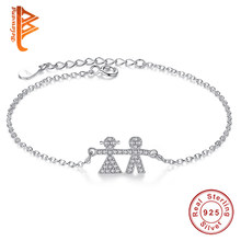 925 Sterling Silver Baby Boy Girl Bracelet Austrian Crystal Jewelry Adjustable Bangles For Couple Child Birthday Family Gifts(China)