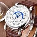 Мужские часы GMT автоматические механические кожаные ремни сапфировое стекло нержавеющая сталь светящиеся 43 мм Corgeut мужские наручные часы