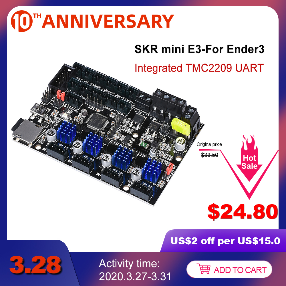 BIGTREETECH SKR mini E3 V1.2 32Bit Control Board With TMC2209 UART Driver 3D Printer Parts skr v1.3 E3 Dip For Creality Ender 3