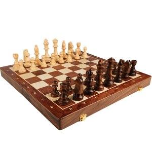 Juego de ajedrez grande y plegable de madera de grado superior, piezas de madera sólida hechas a mano clásicas tradicionales, ajedrez de nogal, juego de mesa de regalo para niños