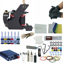 Tattoo Kits Tattoo Accessories Warp Coils Machine Grips Power Supply Color Cups Tattoo Machine Tattoo Sets complete tattoo kits 8 wrap coils guns machine 1 6oz black tattoo ink sets power supply disposable needle free shipping