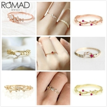 ROMAD Flower Zircon Rings For Women Wedding Crystal Ring Engagement Rose Gold Thin Bridal Dainty anillo Girl Jewelry R5
