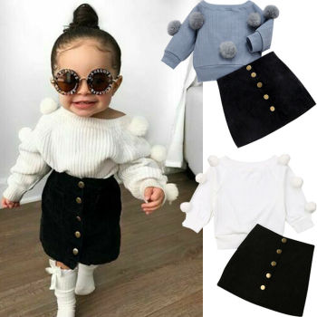 1-6Y Autumn Toddler Baby Kids Girls Clothes Sets Long Sleeve Hairball Knit Tops Sweater+Button Mini Skirt Warm Outfits Sets