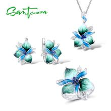 Santuzza Jewelry Sets For Woman 925 Sterling Silver Elegant Blue Green Flower Earrings Pendant Ring Fine Jewelry Handmade Enamel цена и фото