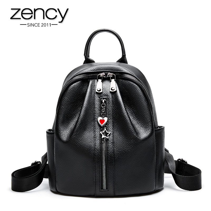 Zency 100% Genuine Leather Fashion Women Backpack Classic Black Daily Casual Travel Bag Large Capacity Knapsack Schoolbag