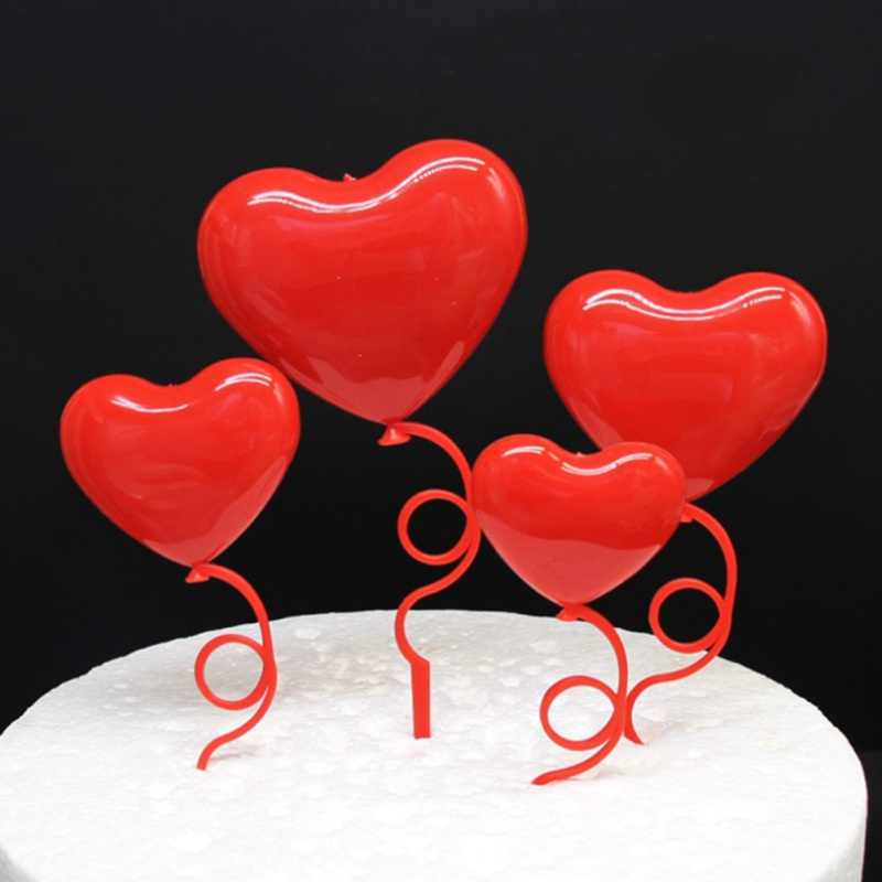 Heart Shape Cake Topper Cupcake Pick Toppers Cake Decoration Tools With Feather For Wedding Birthday Party Valentine's Day