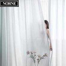 NORNE en kaliteli lüks şifon katı beyaz şeffaf perdeler oturma odası yatak odası dekorasyon için pencere Voiles tül perde