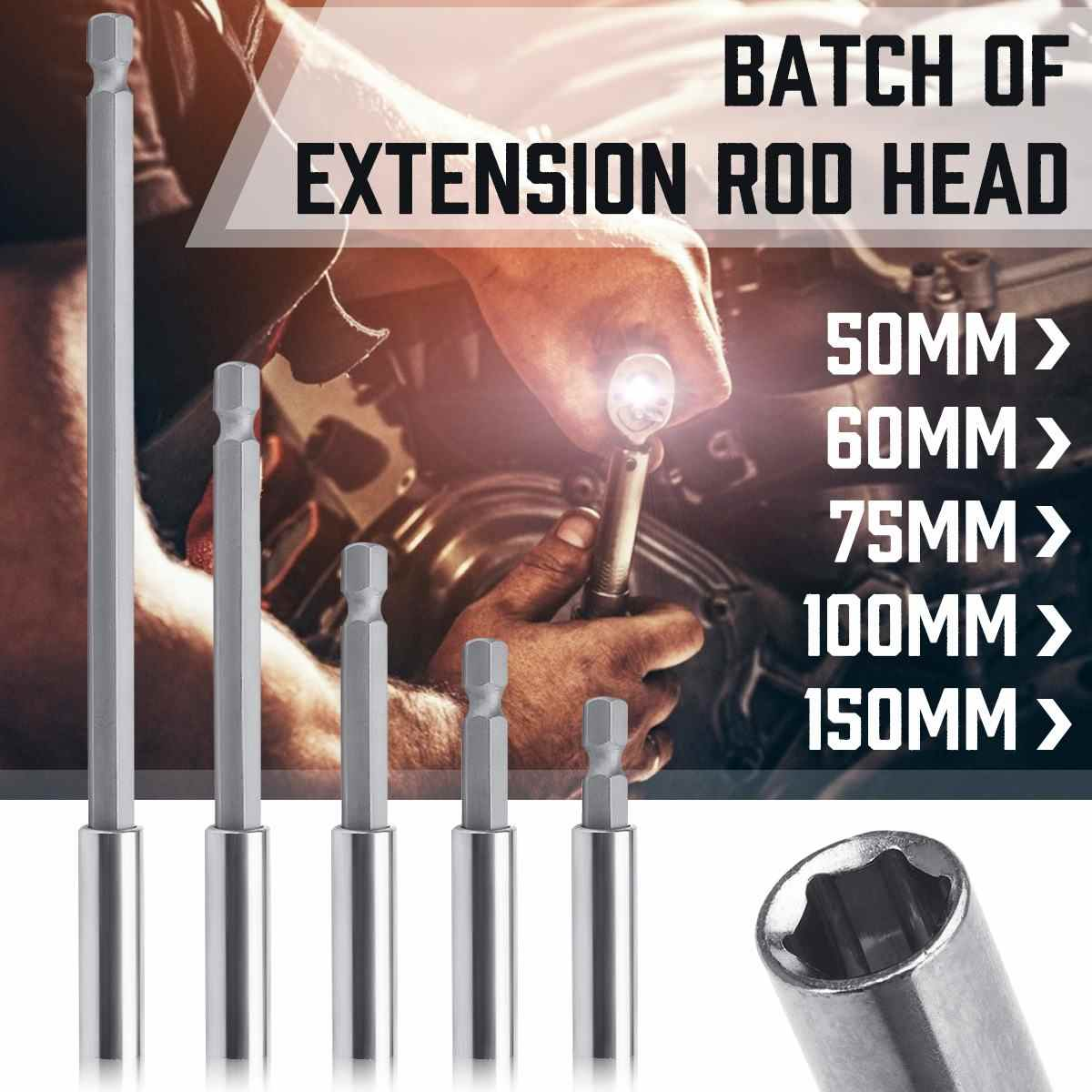 1/4'' Hex Shank Magnetic Extension Rod Batch Head 50/60/75/100/150mm Socket Drill Bits Holders Sleeve for Electric Wrench