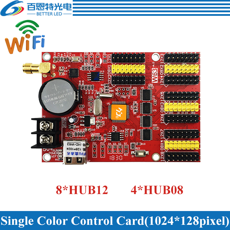 HD-W63 USB+Wifi 8*HUB12 4*HUB08 Single Color(1024*128 Pixels) & Dual Color(512*128 Pixels) LED Display Control Card