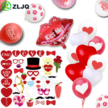 ZLJQ Valentine's Day Diamond Ring Balloon Paper Mask Booth Props Anniversary Wedding Birthday Latex Balloon Bachelor Party Decor image