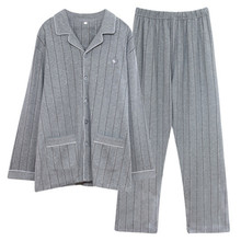 Pajamas mens spring and autumn pure cotton long sleeve all winter plus size pajamas suit home