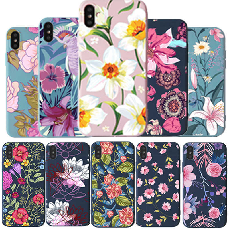 Pola Bunga Funda untuk iPhone 8 7 Case Lembut Silikon untuk iPhone 11 Pro X XR X MAX 8 7 6 6S Plus Mewah Pasangan TPU Back Cover