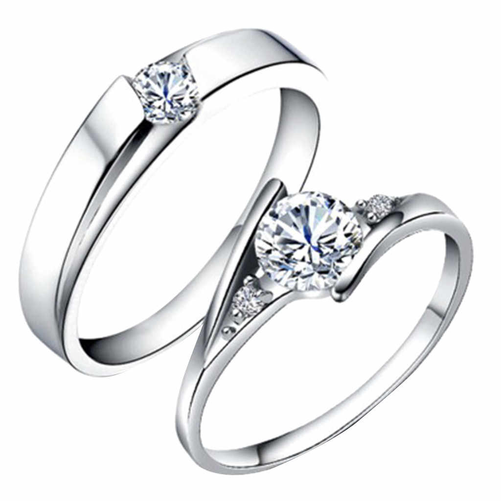 NEW HOT Encrusted Open Geometric Round Male And Female Ring Couple Jewelry Gift rings set for women and girl Wedding Band Ring