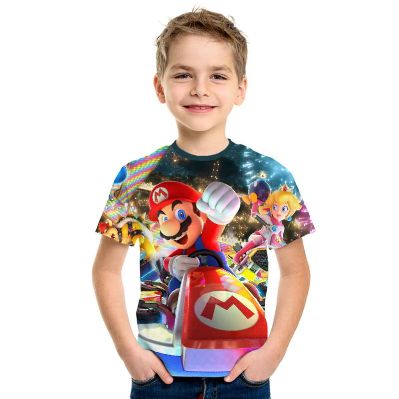 Image 2 - 2019 New Game Super Mary Kids Funny Tops T shirt Full Color O neck hrarjuku 3d Printed Tees Game boys girls Casual Clothing Kid-in Matching Family Outfits from Mother & Kids