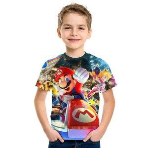 Image 2 - 2019 nuevo juego Super María chico s camisetas divertidas camiseta a todo Color cuello redondo hrarjuku 3d Camisetas estampadas juego chicos chicas ropa Casual chico