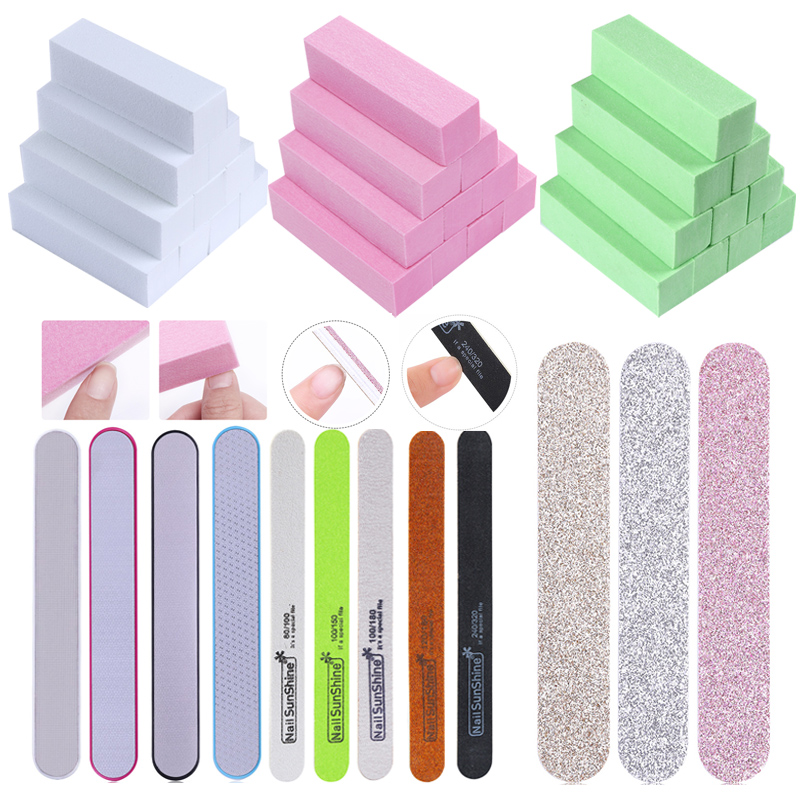 1Pc/10pcs Pink White Form Buffers Buffer Nail File For UV Gel White Nail File Buffer Block Polish Pedicure Sanding Nail Art Tool