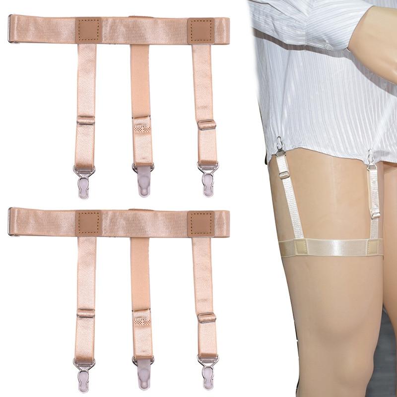 2Pcs Men Shirt Stays Garter Belt With Non-slip Locking Clips Suspender Garters Strap EIG88