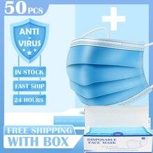 50pcs נגד זיהום 3 Laye מסכת אבק הגנת מסכות חד פעמי פנים מסכות אלסטי אוזן לולאה חד פעמי אבק מסנן בטיחות מסכה